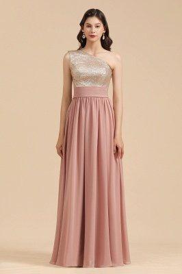 Стильное шифоновое вечернее платье на одно плечо с блестками и пайетками Aline_4