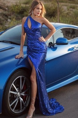 Sexy One Shoulder Mermaid Glitter Sequins Prom Dress Floor Length