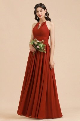 Halter Aline Bridesmaid Dress Sleeveless Floor Length Wedding Party Dress
