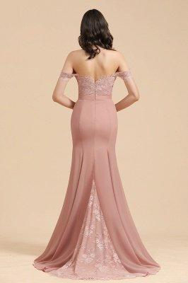 Apliques de renda floral fora do ombro vestido sereia vestido de noite vestido de dama de honra_3