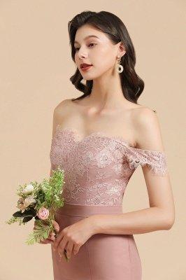 Robe de soirée sirène à épaules dénudées en dentelle florale Appliques Robe de demoiselle d'honneur_8