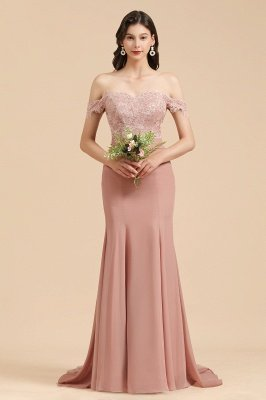 Off Shoulder Floral Lace Appliques Mermaid Evening Dress Bridesmaid Dress