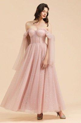 Superbe robe de soirée à manches bouffantes scintillante Aline robe de soirée en mousseline de soie longueur de plancher robe de bal_8
