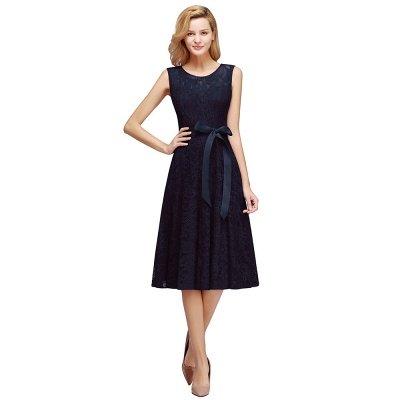 A-line без рукавов Бургунские кружевные платья с луком_4