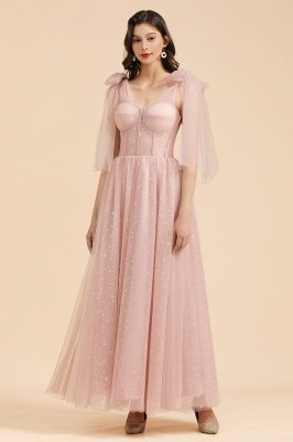 Gorgeous Puffy Sleeves Sparkly Aline Evening Party Dress Chiffon Floor Length Prom Dress