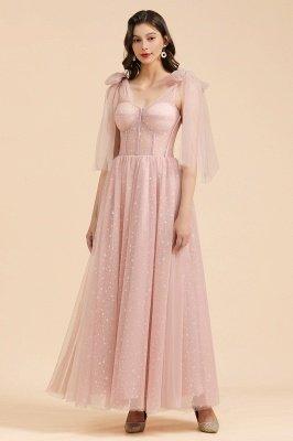 Wunderschöne geschwollene Ärmel Sparkly Aline Abendpartykleid Chiffon bodenlanges Abendkleid