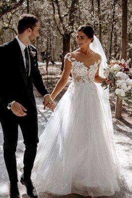 Elegant Cap Sleeve Tulle Lace Simple Wedding Dress White Floor Length Garden Bridal Gown