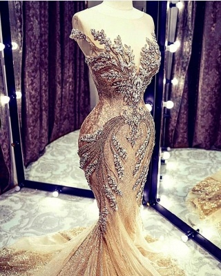 Charming Off the Shoulder Crystals Mermaid Evening Gown Glitter Sequins Party Dress_3