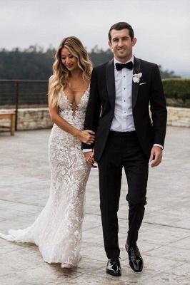 Элегантное свадебное платье русалки с v-образным вырезом на тонких бретельках, кружевное платье с цветочным рисунком для невесты_3