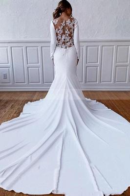 Elegante Langarm Bateau White Hochzeitsempfang Kleid Bodenlanges Brautkleid_2
