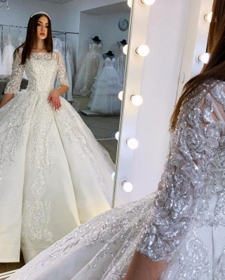 Gorgeous Half Sleeves Satin Lace Appliques Ball Gown  Wedding Dress_3