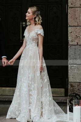 Очаровательное свадебное платье с открытыми плечами и цветочным кружевом, белое свадебное платье принцессы Aline_4