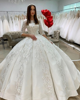 Gorgeous Half Sleeves Satin Lace Appliques Ball Gown  Wedding Dress_2