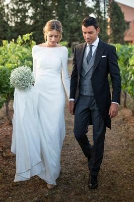 Vestido de noiva elegante bateau branco de mangas compridas simples_1