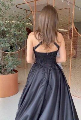 Vestido de fiesta sin espalda vestido de noche Hi-Lo negro con cuello halter sexy_4