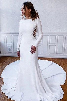 Elegant Long Sleeves Bateau White Wedding Reception Dress Floor Length Wedding Dress