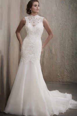 Sleveless White Floral Lace Appliques Slim Wedding Dress