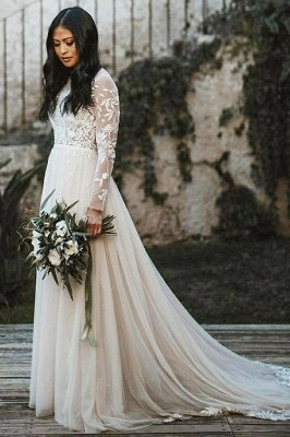 Stylish Long Sleeves Aline Wedding Dress Chiffon Bridal Gown Floor Length