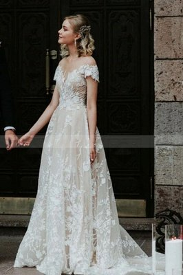 Charmante robe de mariée en dentelle florale à épaules dénudées princesse robe de mariée blanche Aline_4