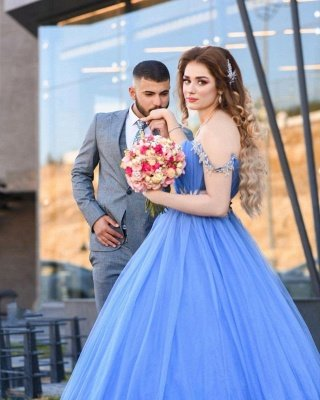 Romantic Off the Shoulder Sky Blue Wedding Gown Tulle Lace Prom Party Dress_3