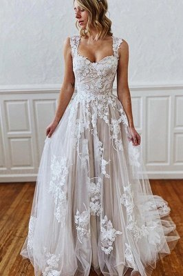 Sweetheart Straps 3D Floral Lace Aline Wedding Dress