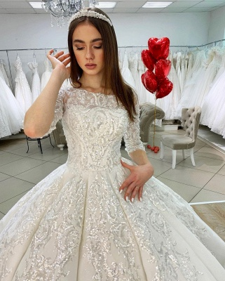 Gorgeous Half Sleeves Satin Lace Appliques Ball Gown  Wedding Dress_4