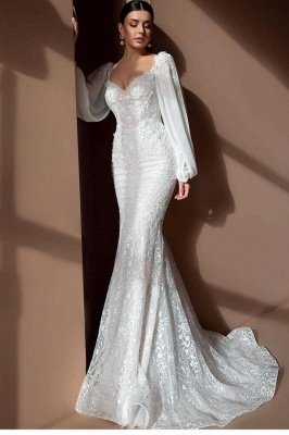 Elegant White Floral Mermaid Wedding Gown Long Sleeve Sweetheart Bridal Gown