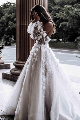 Sexy Sweetheart Sleeveless Wedding Dress White 3D Floral Lace Bridal Gown_3