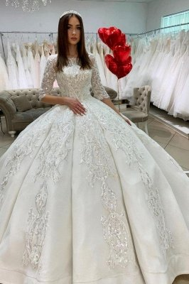 Gorgeous Half Sleeves Satin Lace Appliques Ball Gown  Wedding Dress_1
