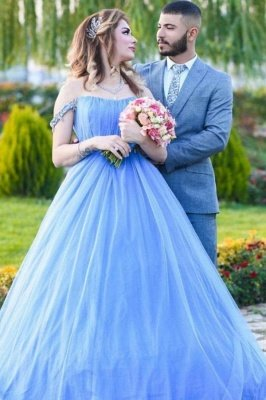 Romantic Off the Shoulder Sky Blue Wedding Gown Tulle Lace Prom Party Dress