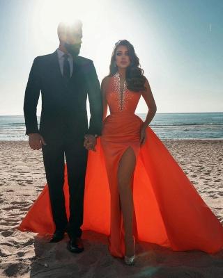 Sexy tiefem V-Ausschnitt Kristalle Satin Meerjungfrau Abendkleid mit Sweep-Zug-Seitenschlitz_4