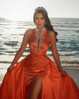 Sexy tiefem V-Ausschnitt Kristalle Satin Meerjungfrau Abendkleid mit Sweep-Zug-Seitenschlitz_2