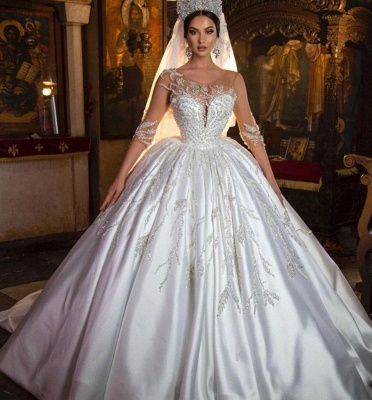Gorgeous Sweetheart Floral Aline Ball Gown Wedding Dress_2