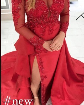 Stylish Long Sleeves Red Evening Dress Lace Appliques with Side Slit_2