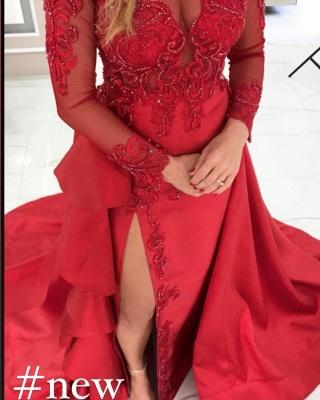 Élégante robe de soirée rouge à manches longues avec appliques en dentelle avec fente latérale_2