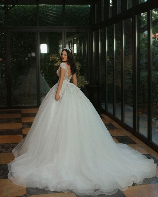Chic Cap Sleeves Deep V-neck Beads Tulle Bridal Gown_3