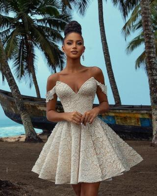 Chic Off Shoulder Floral Pattern  V-Neck Homecoming Dress_3