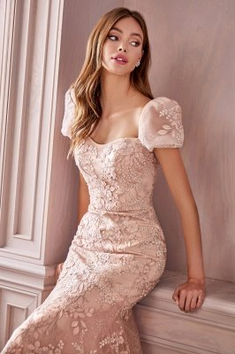 Mermaid Evening Gown Cap Bubble Sleeves Tulle Lace Appliques_3