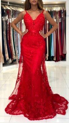 Atemberaubendes Meerjungfrau-Abendkleid mit V-Ausschnitt in Rot mit Spitzenapplikationen_2