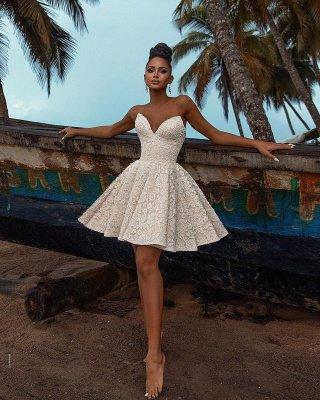 Chic Off Shoulder Floral Pattern  V-Neck Homecoming Dress_2