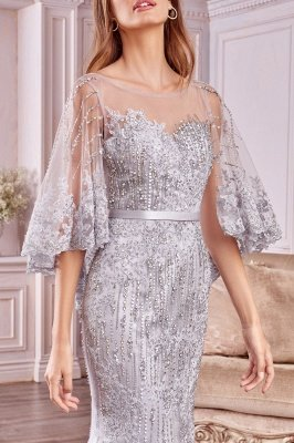 Charming Sleveless Sequins Mermard Evening Gown with Sleeve Cape_3