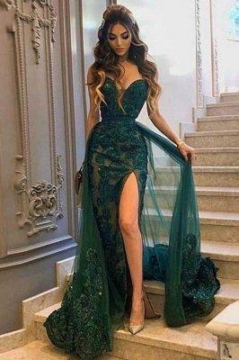 Sexy chérie mince robe de bal sirène robe de soirée fendue sur le côté avec train