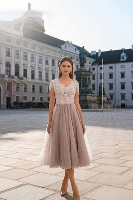 Stylish Cap Sleeves Tulle Short Formal Dress Daily Wear Midi Dress_1