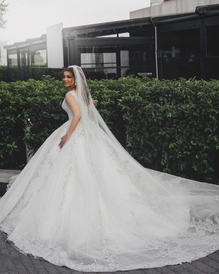 Gorgeous V-Neck Sleeveless Lace Appliques Bridal Gown_3