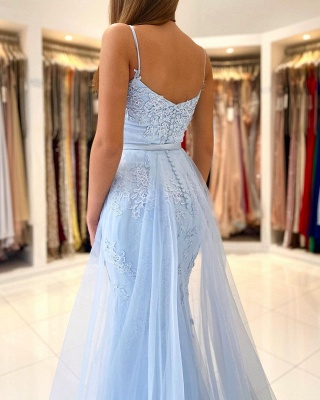 Charming Sky Blue Mermaid Maxi Evenign Dress with Floral Lace Appliques Detachable Train_2