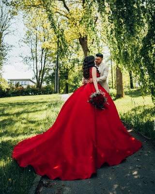 Glamorous Red Sweetheart Aline Ball Gown_3