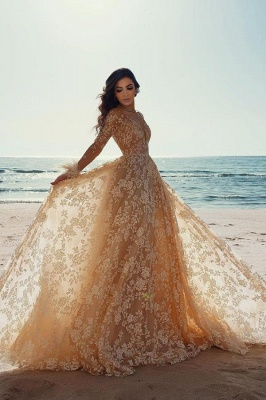 Amazing Long Sleeves Slim Floral Wedding Dress Party Gown_1