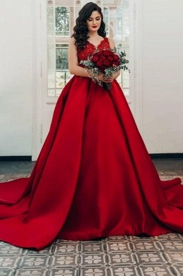 Glamorous Red Sweetheart Aline Ball Gown_1