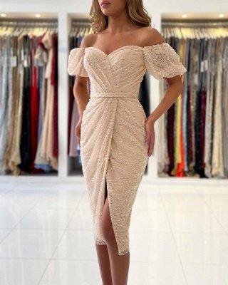 Stylish Off Shoulder Bubble Sleeves Short Mermaid Party Dress_4