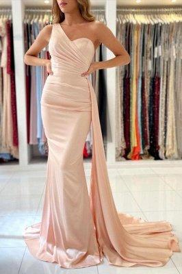 Очаровательное тонкое вечернее платье на одно плечо с русалкой_1